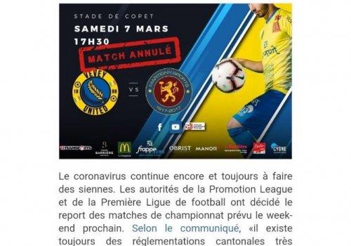 Match du samedi 7 mars annulé